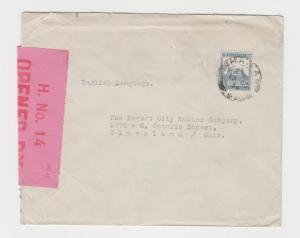 PALESTINE -USA 1939 CENSOR (H NO.14) COVER TO OHIO, 15m RATE(SEE BELOW