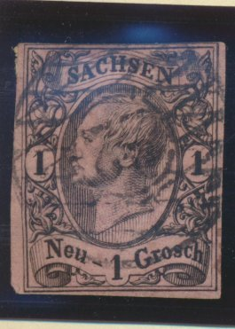 Saxony (German State) Stamp Scott #10, Used, Four Margins - Free U.S. Shippin...