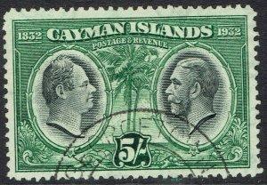 CAYMAN ISLANDS 1932 CENTENARY 5/- USED