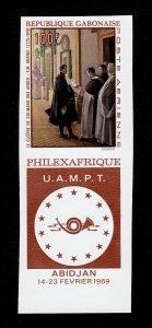 GABON 1969 SCOTT #C77V ABIDJAN PHILEXAFRIQUE 100F IMPERF WITH POSTHORN LABEL MNH