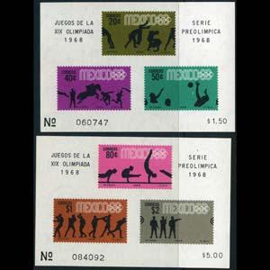 MEXICO 1968 - Scott# 992a-5a S/S(2) Olympics NH
