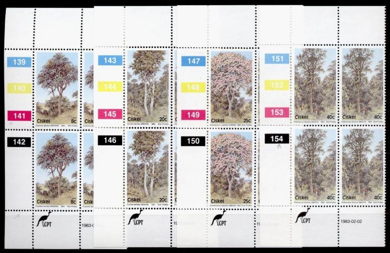 Ciskei 46-9 Plate Blocks MNH Flowering Trees