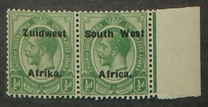 South West Africa 29. 1924 1/2p Green KGV, pair, NH