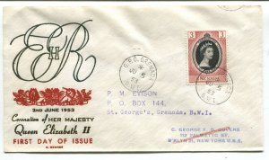 Grenada QEII 1953 cacheted Coronation cover posted 3 days after