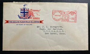 1943 Montreal Canada Advertising Meter Cancel Cover to New Haven CT USA Ogilvie