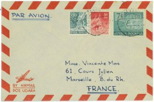 93731 -  INDONESIA  - POSTAL HISTORY -  Airmail COVER to FRANCE 1954