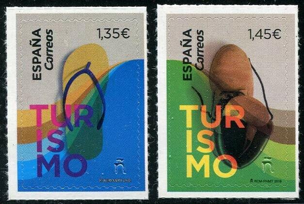 HERRICKSTAMP NEW ISSUES SPAIN Sc.# 4252-53 Tourism 2018 Self-Adhesive