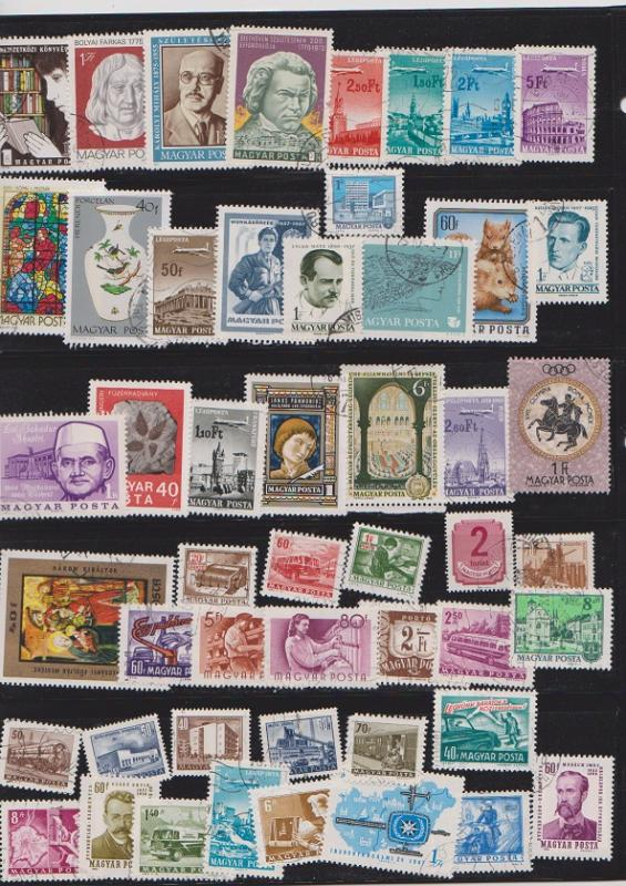 LOT OF DIFFERENT STAMPS OF HUNGARY USED (50) LOT#424