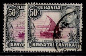 KENYA UGANDA TANGANYIKA GVI SG144 + 144e, 50c SHADE VARIETIES, FINE USED.
