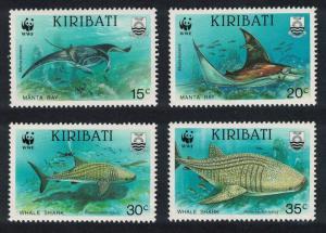 Kiribati WWF Whale Shark and Manta Ray 4v SG#348-351 MI#566-569 SC#562-565