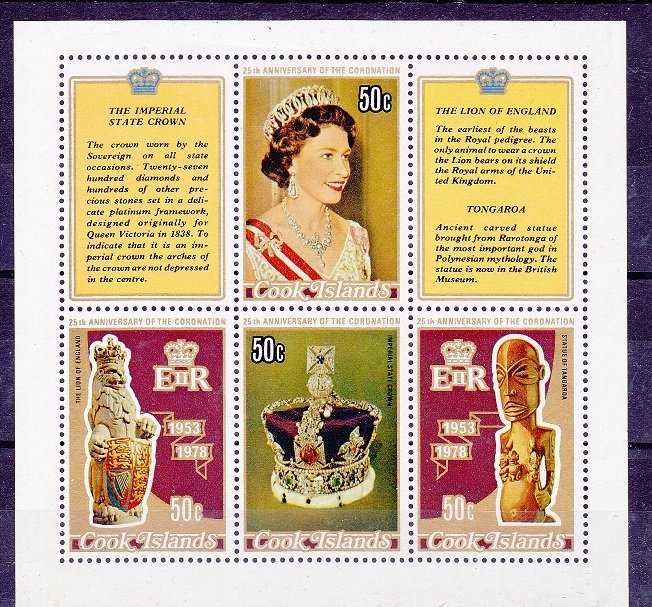 Cook Islands MNH S/S 486D 25th Anniversary Of Coronation QE II 1978
