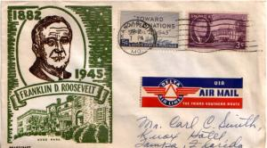 United States Missouri Kansas City 1945 machine  5c United Nations and 3c Roo...