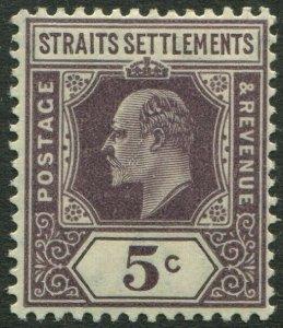 STRAITS SETTLEMENTS-1906 5c Dull Purple Sg 130 LIGHTLY MOUNTED MINT V50183
