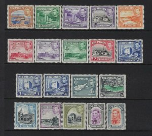 CYPRUS SCOTT #143-155/164-66 1938-1951 GEORGE VI COMPLETE  - MINT NEVER HINGED