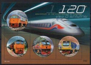 THAILAND - 2017 - M/S - TRAINS - 120th ANNIVERSARY OF THE THAI RAILROADS -