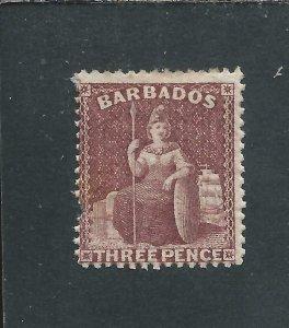 BARBADOS 1873 3d BROWN-PURPLE MM PERF FAULT SG 63 CAT £375