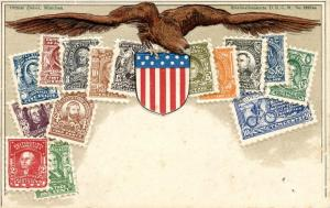 Multi-Colored Post Card Depicting U.S. Second Bureau Issue