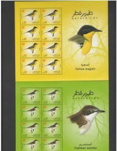 QATAR: Sc. 1053-60** B I R D S  **/ Sheet of 8 each + SS + Booklet / MNH3 Images