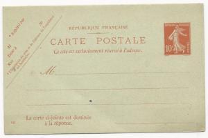 France Michel #P25 H&G #68 Unused Postal Card 1907