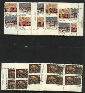 Canada USC #732 & 734a Mint MS of Imprint Blocks VF-NH 1977 Cougar & Thompson