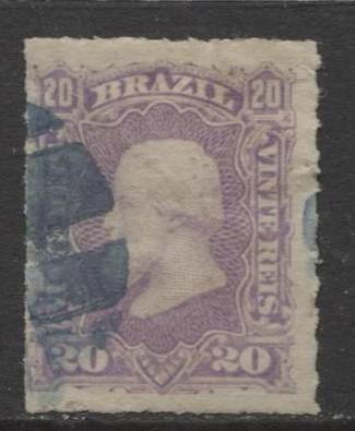 Brazil - Scott 69 - Dom Pedro Issue -1878 - Rouletted - Used- Single 20r Stamp