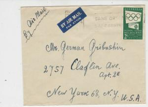 Australia 1956 Sane Driving Safe Arriving Slogan Olympic Stamp Cover Amail 23423