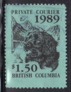 CANADA BRITISH COLOMBIA PRIVATE COURIER 1989  SEE SCAN