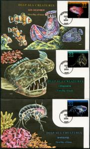 #3439-3443 (5) DIFF COLLINS FDC CACHET HAND PAINTED DEEP SEA CREATURES BP7319