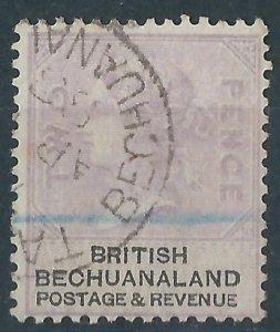 K058) Bechuanaland.1888. Used. SG. 11a 2d Lilac & black. Wmk. Orb. P14. c£24+