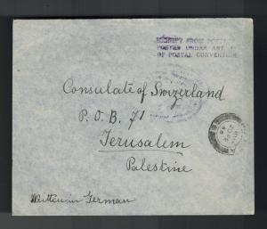 1946 Palestine German Internment Camp Detainee censored cover Switzerland Consul