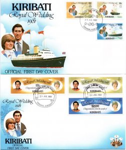 Kiribati - 1981 Royal Wedding FDC Set SG 149-154