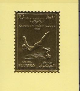 Fujeira, Mi cat. 1282 B. Munich Olympic Swimmer Gold Foil issue. *
