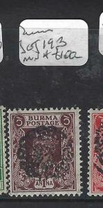 BURMA JAPANESE OCCUPATION  (PP0805B) ON INDIA  SG J19B  MNH