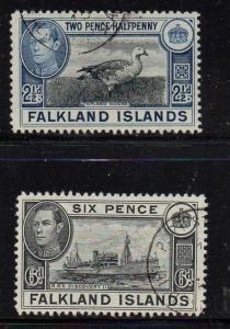 Falkland Islands Sc 101-2 1949 Goose Ship stamp set used