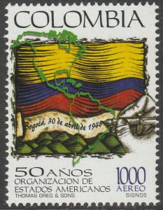 COLOMBIA C902, ORGANIZATION OF AMERICAN STATES.  MINT, NH. F-VF. (547)