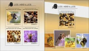 Guinea 2014 bees insects klb+s/s MNH