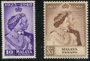 Malaya - Penang SC# 1-2 SG#1-2 George VI 25th Wedding Anniv. set MH
