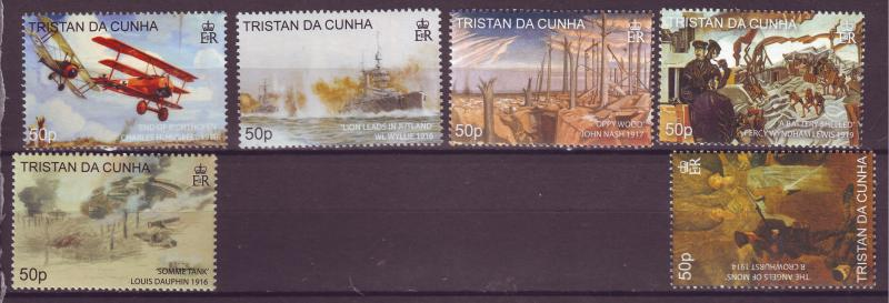 J15085 JLstamps 2008 tristan da cunha set mh #850-5 world war I