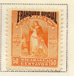Nicaragua 1894 Early Issue Fine Mint Hinged 50c. Official Optd 323732