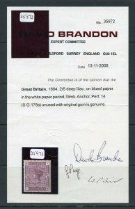 GREAT BRITAIN 2/6 VICTORIA  SC#96a & VARIETY, SG#179a 2006 BRANDON CERT MINT LH