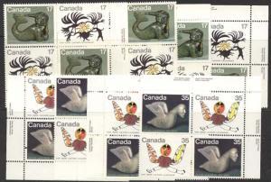 Canada - 1980 17c & 35c Inuit Spirits in Pl. Blocks mint