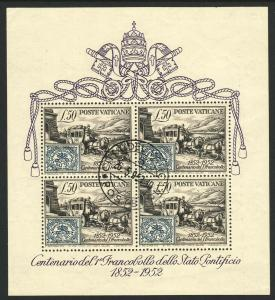1951 Vatican Roman States Stamp & Stage S/S Souvenir sheet used (CTO) Sc# 155a