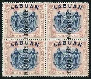 LABUAN SGD9d 1901 24c Postage Due perf 13.5-14 block of 4 Opt DOUBLE one ALBINO