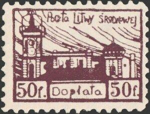 CENTRAL LITHUANIA / MITTELLITAUEN - 1921 Mi.P.1.A 50f Mint* - ref.916d