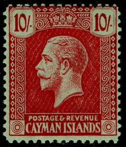 CAYMAN ISLANDS SG67, 10s carmine/green, NH MINT. Cat £75.