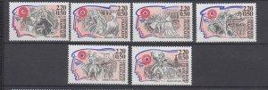 J29301, 1989 france set mnh #b602-7 famous people