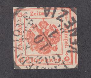 Lombardy-Venetia Sc PR2 used. 1859 2kr red newspaper stamp, SON Venezia cancel