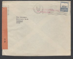 Palestine Sc 76 used on 1940 Censored Cover