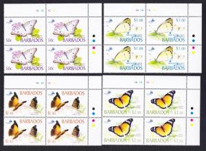 Barbados Butterflies 4v Top Right Corner Blocks of 4 SG#1261-1264 SC#1073-1077