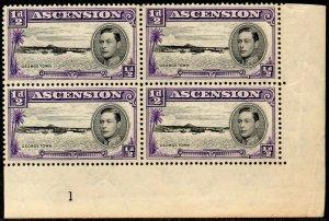 1944 Ascention Sg 38 ½d black and violet Cylinder 1 Unmounted Mint Toner Paper